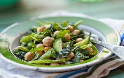 ハーブとひよこ豆とほうれん草のサラダのレシピ