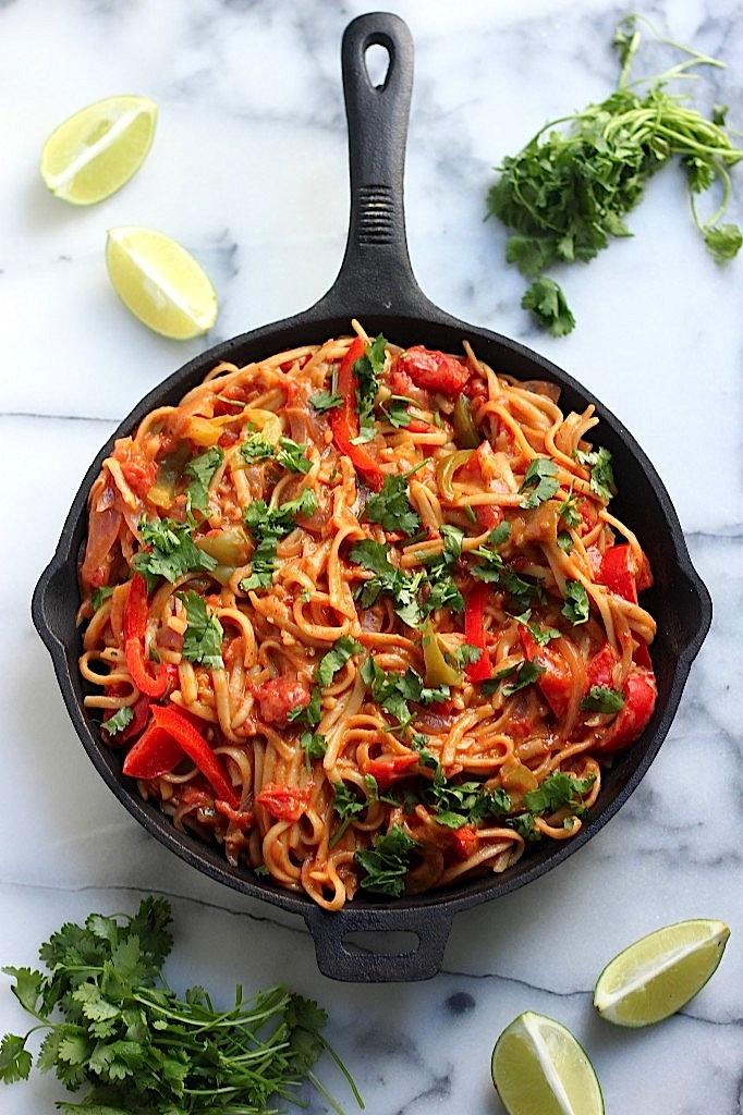 野菜のファヒータパスタのレシピ