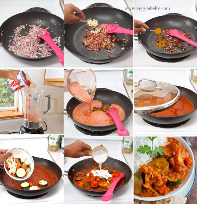 ズッキーニとカリフラワーのベジタリアンカレーのレシピ